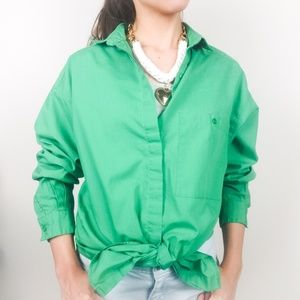 Vintage DVF • Kelly Green Button Up Collared Shirt